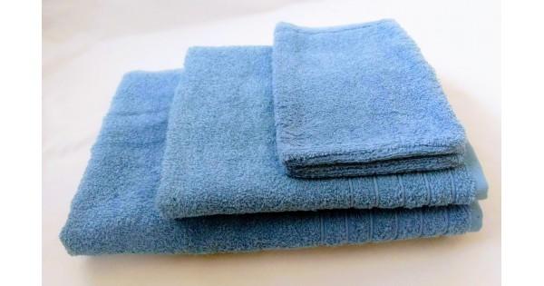 4-delige handdoekenset Fairtrade blauw