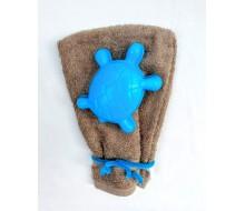 Washandje Fairtrade zand + blauw zandvormpje schildpad