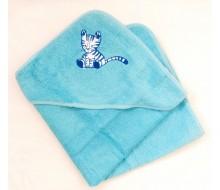 Badcape Katje in blauwe badstof