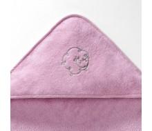 Badcape in roze badstof met taupe schaapje en effen washandje