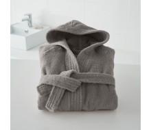 Kinderbadjas effen in badstof (450 g/m²) met kap in donkergrijs - 12-14 jaar (maat 150-162)
