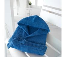 Badjas in badstof met kap (kinderen) kobaltblauw maat 150/156 (12 jaar)