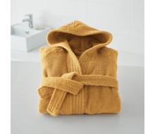 Badjas in badstof met kap (kinderen) in saffraan maat 150/162 (12 jaar/14 jaar)