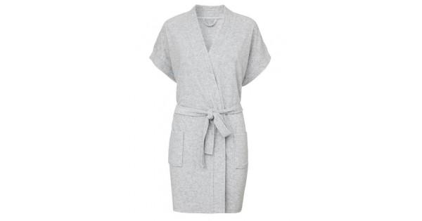 Badjas in lichtgrijze badstof met kimonokraag (dames) maat S/M