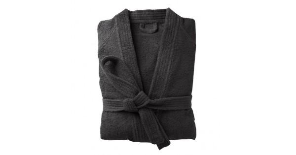Badjas in badstof met kimonokraag (volwassenen) in zwart maat 50/52 (XL)