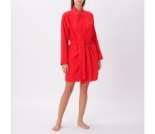 Badjas in rode badstof met kimonokraag (volwassenen) maat S/M