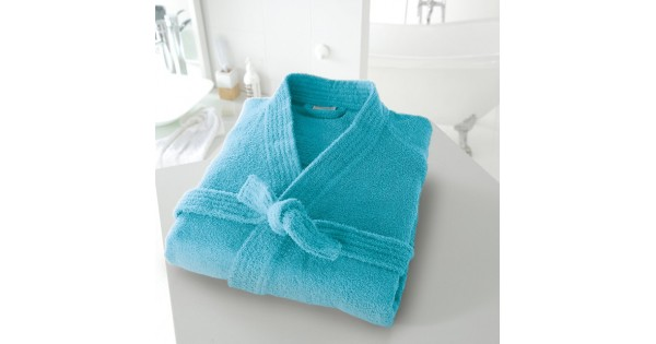 Badjas in badstof met kimonokraag (volwassenen) in turkoois maat 42/44 (M)