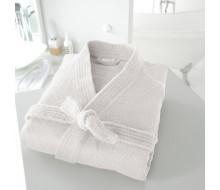 Badjas in badstof met kimonokraag (volwassenen) in wit maat 34/36 (XS)