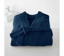 Badjas in badstof met kimonokraag (volwassenen) in marineblauw