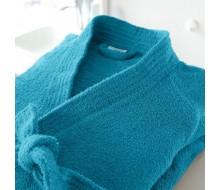 Badjas in badstof met kimonokraag (volwassenen) in petrolblauw