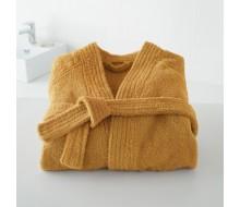 Badjas in badstof met kimonokraag (volwassenen) in saffraan