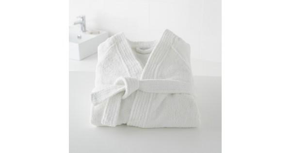 Badjas in badstof met kimonokraag (volwassenen) in wit