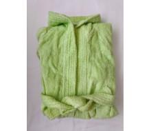Kinderbadjas effen in badstof (350 g/m²) met kap in anijsgroen - 8-10 jaar (maat 126-138)