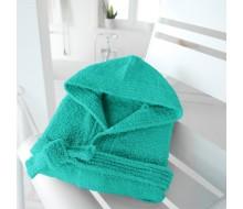 Kinderbadjas in badstof (350 g/m²) met kap in atolgroen