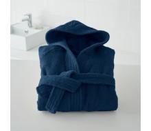 Kinderbadjas in badstof (450 g/m²) met kap in marineblauw