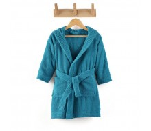 Kinderbadjas effen in badstof (350 g/m²) met kap in petrolblauw