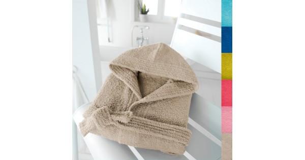 Kinderbadjas effen in badstof (350 g/m²) met kap in touwbeige - 8-10 jaar (maat 126-138)