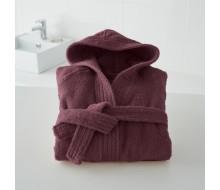 Kinderbadjas effen in badstof (450 g/m²) met kap in vijg - 4-6 jaar (maat 102-114)