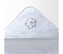 Badcape schaapje in badstof met effen ongeborduurd washandje