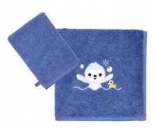 handdoek + washandje Lila & Lou Lou donkerblauw