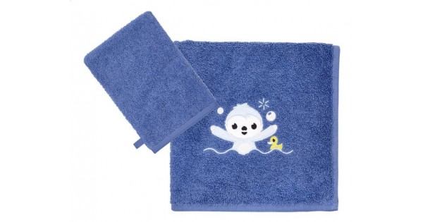 handdoek (50 cm x 100 cm) + washandje blauw