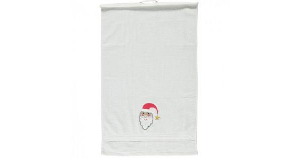 Handdoek wit met kerstman
