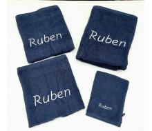 4-delige handdoekenset donkerblauw