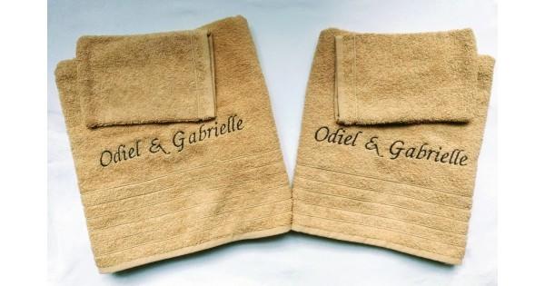 4-delige handdoekenset Fairtrade oker