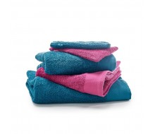 5-delige handdoekenset blauw/ framboos