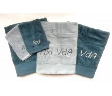 5-delige handdoekenset grijsblauw/ atlantisch blauw
