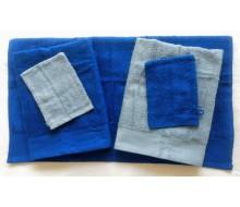 5-delige handdoekenset grijsblauw/ kobaltblauw