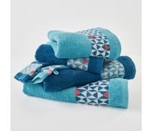 6-delige handdoekenset donkerblauw/ turkoois en een toets paprikarood