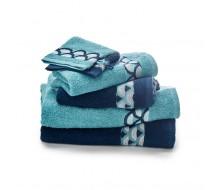 6-delige handdoekenset donkerblauw/ turkoois