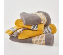 6-delige handdoekenset grijs/ geel