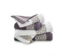 6-delige handdoekenset grijs/ wit en een goudgele toets