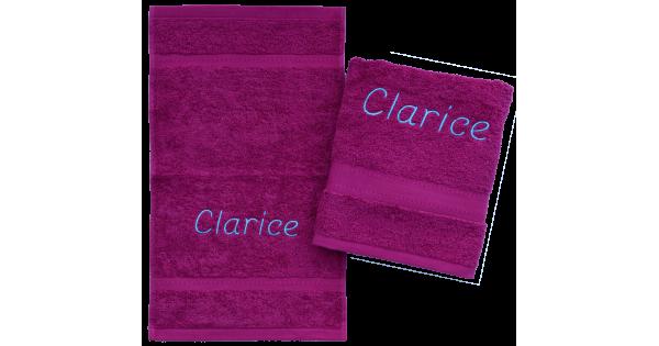 2-delige handdoekenset Jules Clarysse berry (=roze)
