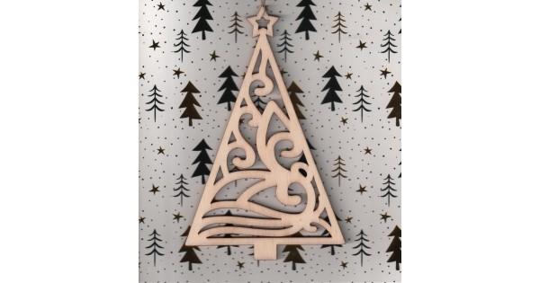 Kaartje met houten hanger kerstboom