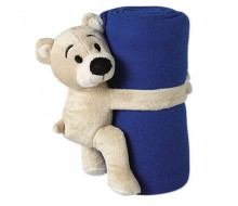Knuffel beertje met blauw fleece dekentje
