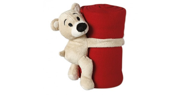 knuffel beertje met rood fleece dekentje