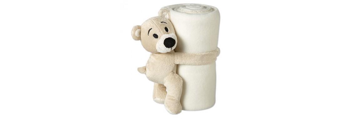 knuffel beertje met wit fleece dekentje