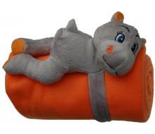 Knuffel nijlpaard met fleece dekentje