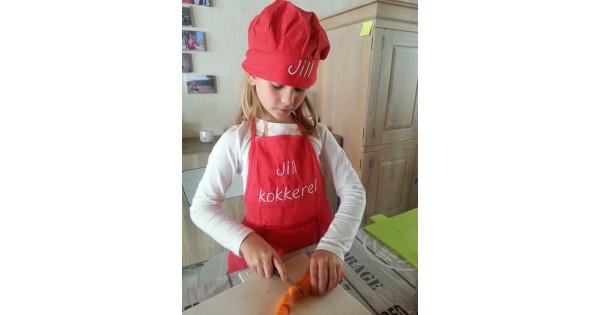 Keukenschort en koksmuts kids (tot ongeveer 7 jaar)