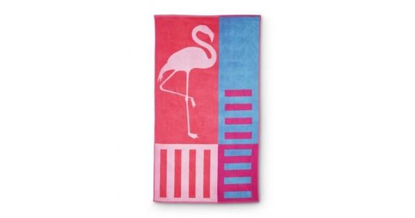 Strandlaken Flamingo 170 cm x 93 cm (optioneel voor 9,50 euro: Flamingo luchtmatras)