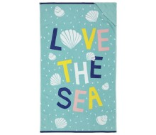 Strandlaken LOVE THE SEA (140 cm x 80 cm) met opbergvakje