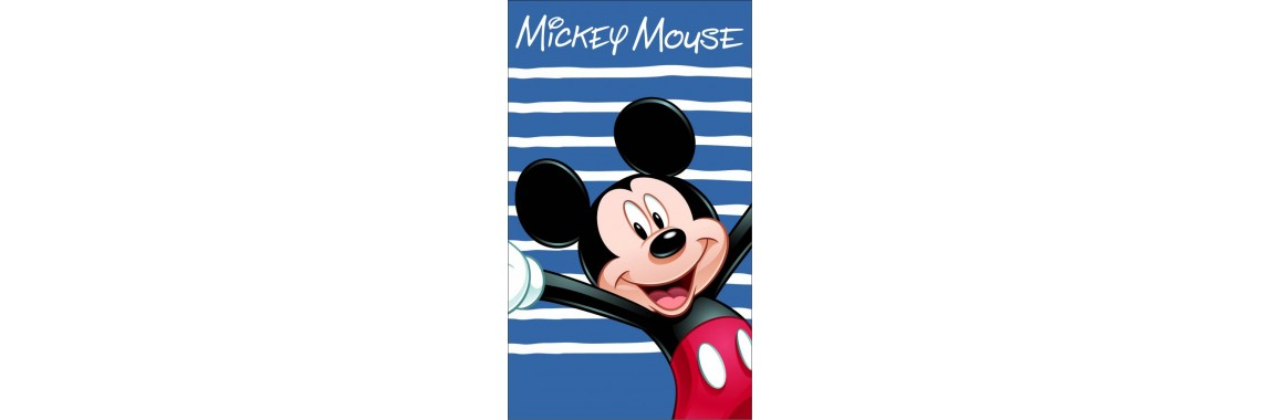 Strandlaken met naam geborduurd - Mickey Happy