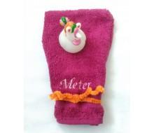 Washandje Clarysse (beschikbaar in 16 kleuren) + badeendje eenhoorn