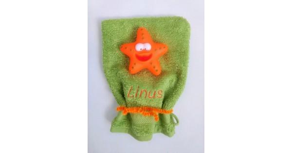 Washandje Jules Clarysse limoen + oranje zeester
