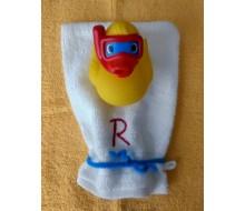 Washandje Clarysse (beschikbaar in 16 kleuren) + badeendje met snorkel