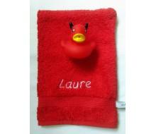 Washandje Clarysse (beschikbaar in 16 kleuren) + badeendje rode duivel