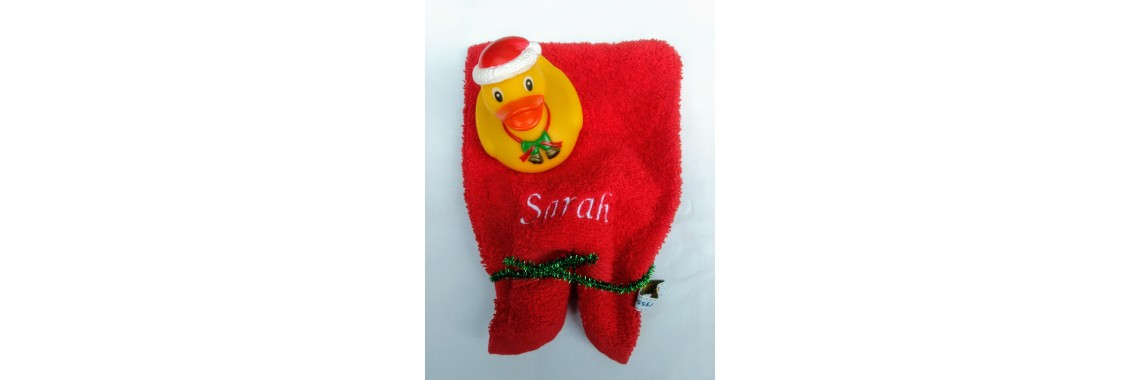 Washandje met badeend kerst